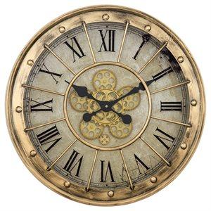 Gilded Round Gear Clock