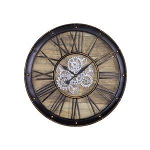 Round Venetian Woodgrain Gear Clock